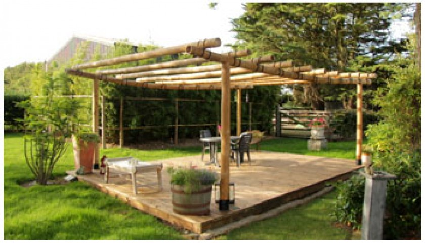 Bamboo Pergola Decked Area And Bamboo Tree Supports